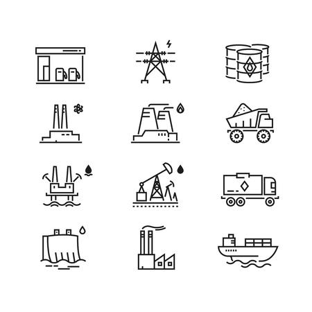 electricidad industrial: la industria de alimentación iconos de líneas generaciones vector. electricidad, abastecimiento de combustible de energía, energía eléctrica, energía industrial ilustración