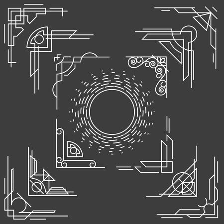 Esquinas del marco de diseño de la línea finas lineales, vector esquinas de la forma. Elemento de la esquina línea, inconformista esquina lineal, del vintage ilustración esquina