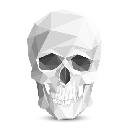 Colorful geometric skull. Vector triangular skull. Human head skull, skeleton polygon skull, eye socket and tooth skull illustration