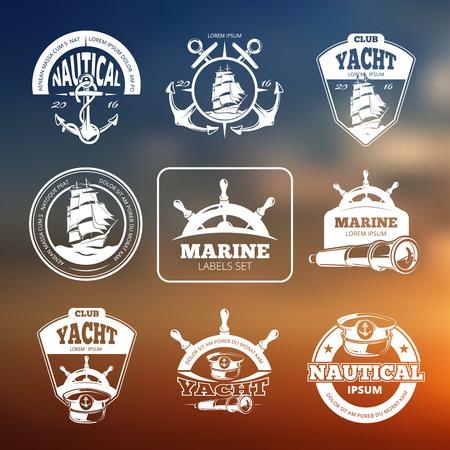 배경 흐리게에 해양, 해상 벡터 레이블입니다. 선박 항해, 해양 요트, 항해 클럽, 라벨 해양 요트, 배지 빈티지 항해 선박 그림