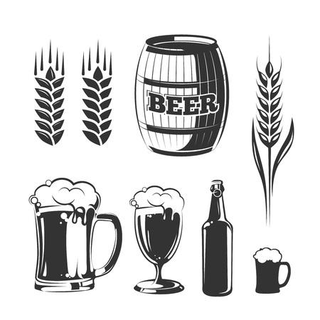 lager beer: Vector elements for vintage beer festival labels and emblems. Alcohol beer label, emblem beer, sign beer, vintage lager beer, badge beer illustration