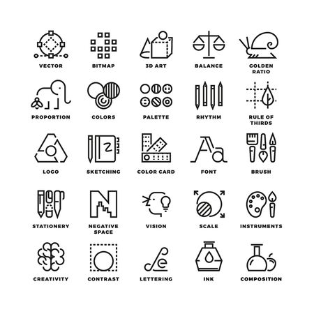 Creative design process linear vector icons for web app. Tool app, button tool drawing, bitmap and proportion tool icon, tool web app sketching illustration