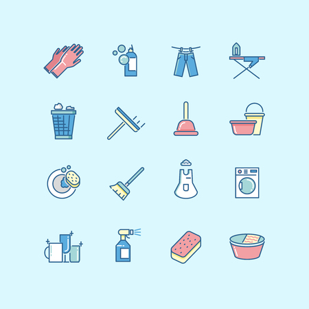 wet cleaning: Washing, cleaning, laundry line color vector icons. Laundry icon, clean service washing, housework washing icon, wash equipment icon illustration
