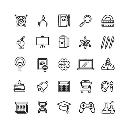 La educación escolar y el aprendizaje. Esquema de los iconos del vector. icono de estudio, escuela, icono la educación, icono de aprendizaje, el conocimiento icónico