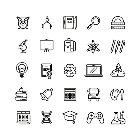 education icon: School education and learning. Outline vector icons. Study icon, school, education icon, learning icon, knowledge icon illustration