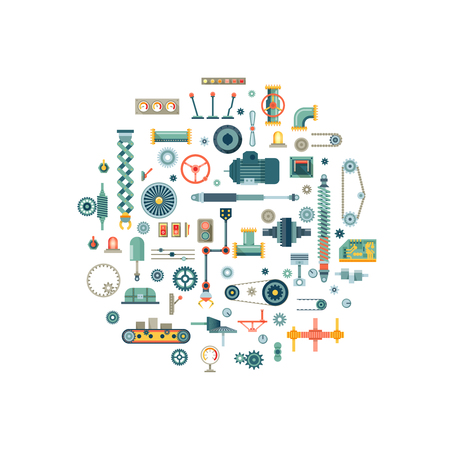 Machine parts flat vector icons in circle composition. Machine gear, machine technology, machine industry, machine engine illustration Vector Illustration