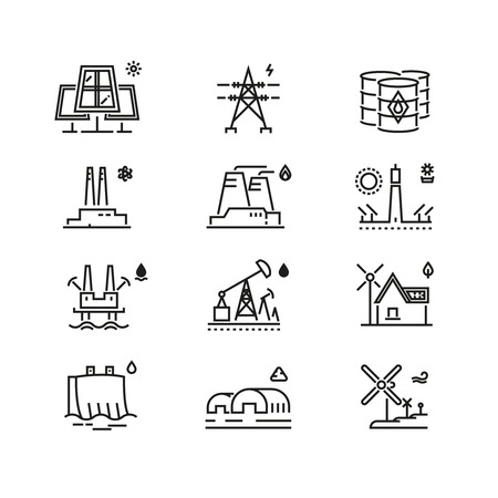 generations: Power generations line icons. Different elements of global energy development. Generation electricity, energy generation, global generation development, power genearation. Vector illustration Illustration