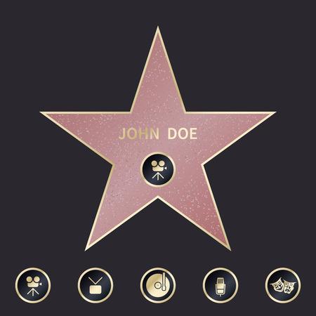 Walk of fame star with emblems symbolize five categories.