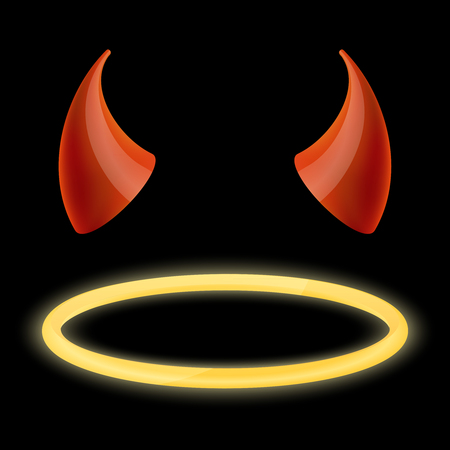 Devil horns and angel halo. Devil and angel, horn and halo, demon horn, halo saint, satan horn, holy halo. Vector illustration