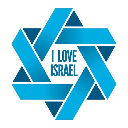 Israel star, sign hexagram, religious david star illustration