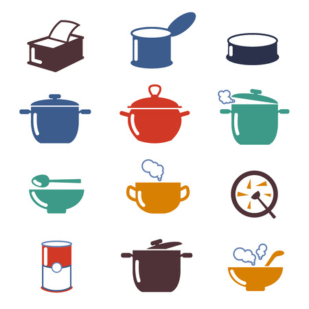 cooking utensil: Color soup vector icons. Utensil pan soup, cooking soup, color bowl soup illustration