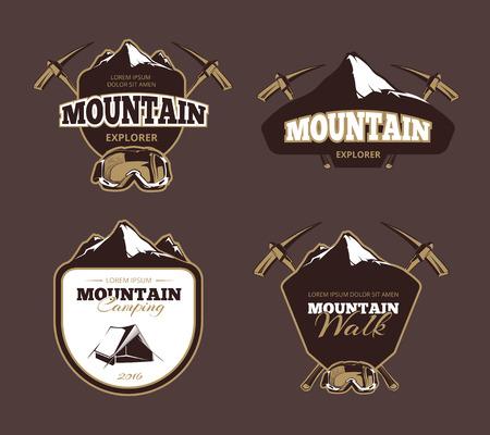 exploration: Mountain exploration retro vector emblems, labels, badges. Mountain emblem, label mountain exploration, badge vintage mountain exploration illustration Illustration
