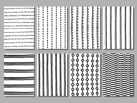 Grunge gestreepte en gestippelde vector hand getekend patronen. Grunge streeppatroon, stippenpatroon, tekenen lijnpatroon naadloze patroon illustratie
