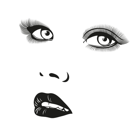 eyelids: Beautiful woman vector portrait. Portrait face girl, portrait illustration, portrait fashion woman, female young portrait illustration Illustration