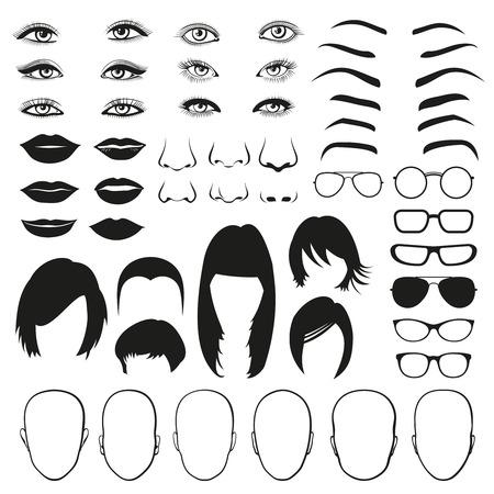 piezas mujer cara, ojo, vidrios, los labios y el cabello. Frente a los ojos de la mujer, cara de la mujer del pelo, la cara principal de la mujer y el labio. Conjunto de la ilustración