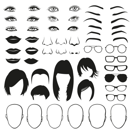 parts: Woman face parts, eye, glasses, lips and hair. Face woman eye, face woman hair, face woman head and lip. Vector illustration set