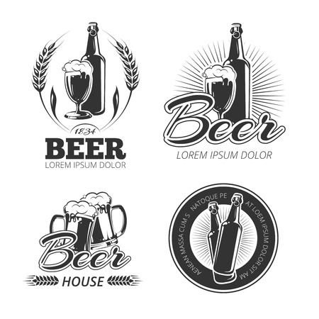 Vintage beer vector emblems, labels, badges . Badge beer, alcohol beer, mug beer bottle, beverage beer, brewery beer illustration
