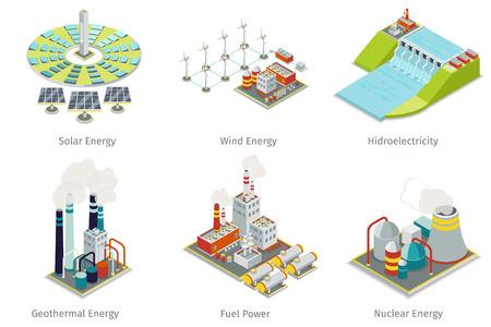 iconos de la planta de energía. Electricidad y plantas de generación de fuentes. energía eléctrica, energía hidroeléctrica, energía geotérmica, energía solar y eólica. ilustración vectorial Ilustración de vector