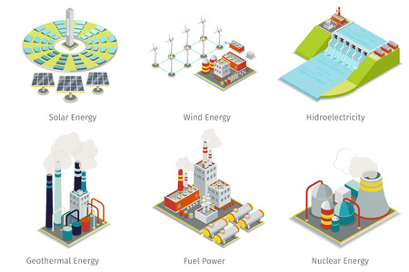 hydroelectric: Power plant icons. Electricity generation plants and sources. Electricity energy, hydroelectricity energy, geothermal energy, solar and wind energy. Vector illustration