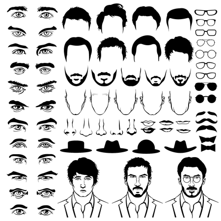 construct: Constructor with men hipster haircuts, glasses, beards, mustaches. Man fashion, man construct, man hipster haircut illustration. Vector flat style