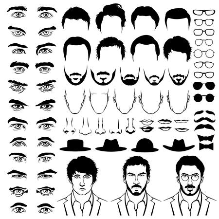 Costruttore con gli uomini vita bassa tagli di capelli, occhiali, barba, baffi. la moda uomo, l'uomo costrutto, l'uomo pantaloni a vita bassa taglio di capelli illustrazione. stile piatto Vector Vettoriali