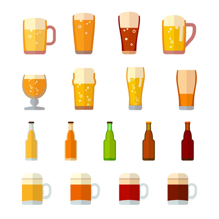 Beer vector icons in flat style. Beer drink,  beer glass, beer mug, beer lager, beer beverage bottle illustration