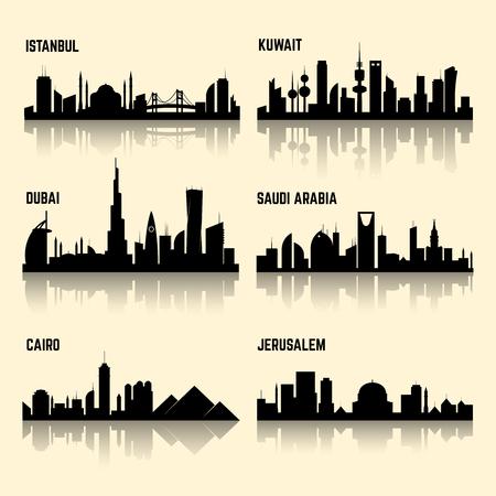 Midden-Oosten steden vector set. Jerusalem city, Koeweit-Stad, Istanbul, de stad Caïro, Saoedi-Arabië en Dubai stad illustratie