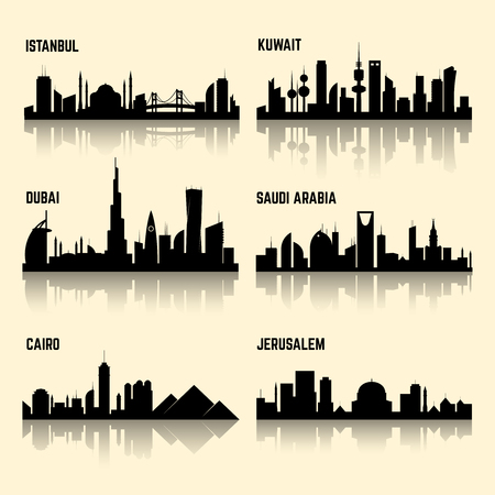 Middle East cities vector set. Jerusalem city, kuwait city, istanbul city, cairo city, saudi arabia and dubai city illustration