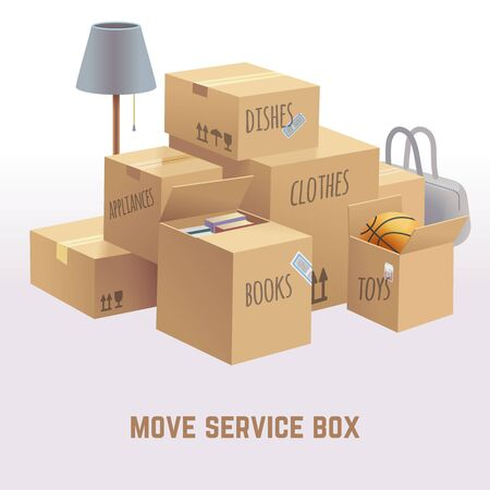 move: Move service box, package, cargo vector concept. Package move delivery, receive box, deliver box, goods box parcel, container box move illustration Illustration