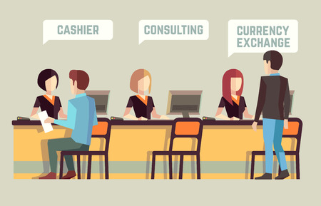 Bank interior with cashier, consulting, currency exchange. Banking vector concept. Bank finance, staff manager bank interior, visitor bank, client bank office illustration