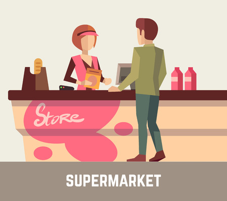 customer service: Supermarket store assistant, cashier woman at cash register and customer. Store cashier, sale assistant store, supermarket store, retail store, service store. Vector illustration