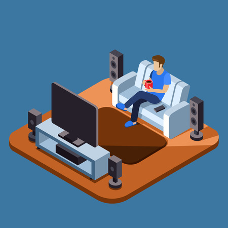 show home: Man watching television on sofa. Sofa and television interior, sitting sofa and watching tv interior, home interior. Vector illustration flat isometric concept