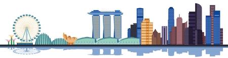 컬러 싱가포르 도시의 스카이 라인. 스카이 라인 싱가포르, 싱가포르 건물, 싱가포르 랜드 마크, 싱가포르 아키텍처, 싱가포르 마천루. 벡터 일러스트  일러스트