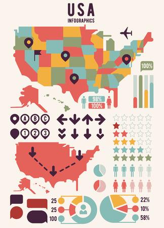 Estados Unidos de América EE.UU. mapa con elementos de infografía. EE.UU. gráfico de mapa, información de mapas EE.UU., EE.UU. bandera mapa gráfico, infografía EE.UU.. ilustración vectorial