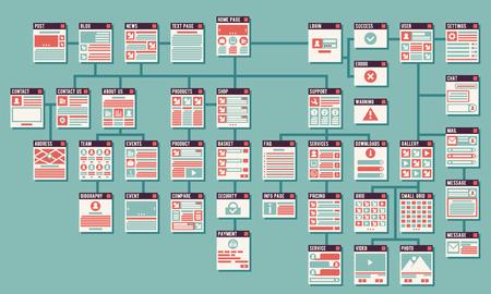 Estratto del sito web infografica sitemap vettoriali. mappa del sito Web, sito mappa, sito internet, il sito di interfaccia, le informazioni sito web infografica illustrazione Vettoriali