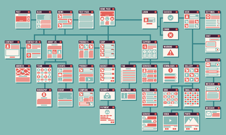 Abstract website sitemap vector infographics. Web sitemap, website map, internet website, interface website, information infographic website illustration Illustration