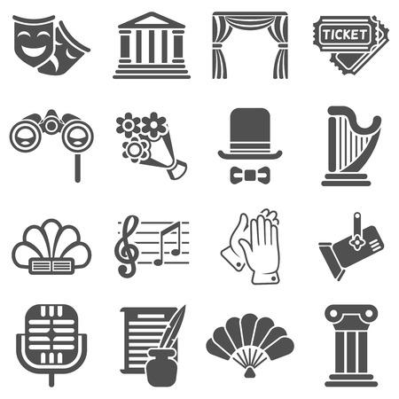 iconos negros de teatro que actúa de vector. teatro de la actuación, el teatro de máscaras, comedia icono de teatro, arte teatro cine en la ilustración