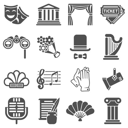 Theater wirkende Vektor schwarze Symbole. Acting Theater, Maskentheater, Symbol Theater Comedy, Kunst Drama Theater Illustration