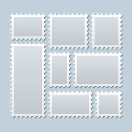 Blank Briefmarken in verschiedenen Größen. Stempelmarke Porto, Papier Marke Stempel, leere Zeichen Postkarte. Vektor-Illustration Vorlage Vektorgrafik
