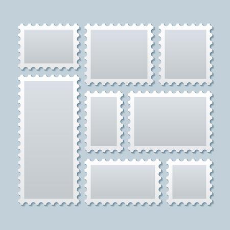 francobolli vuoti in diverse dimensioni. Stamp contrassegno spese postali, segno di carta timbro, Cartolina in bianco segno. Vector modello di illustrazione Vettoriali