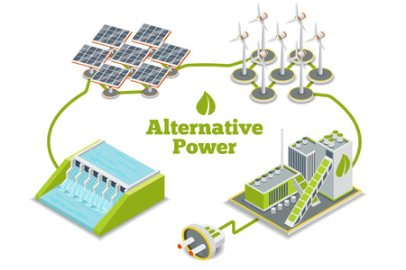 green power: Alternative energy, eco energy or green energy generators. Alternative power, alternative ecology energy, alternative technology, alternative  power electricity. Vector illustration Illustration