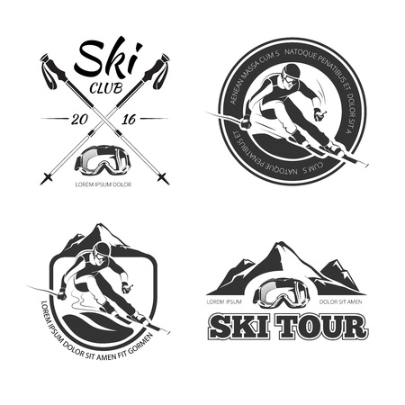 downhill skiing: Vintage skiing and winter sports vector emblems, labels, badges . speed race sliing tour illustration