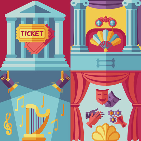 acting: Theatre acting vector concept background in flat style. Show theatre, performance theatre, entertainment theatre illustration