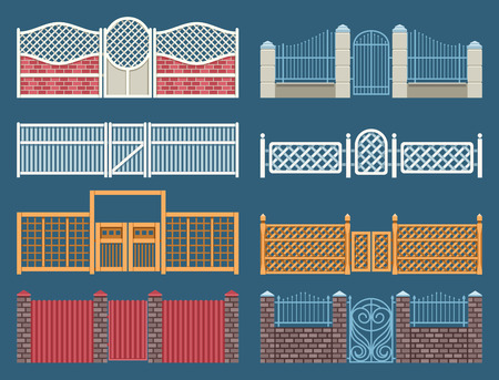 boundaries: Fences and gates vector set. Gate and fence iron, outdoor gate, architecture fence metal, elegance gate, wooden gate and fence illustration Illustration