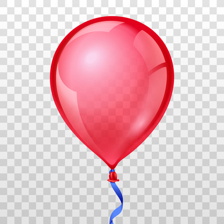 Realistic red balloon on transparent checkered background. Balloon air birthday, helium balloon, moving balloon inflatable, Vector illustration