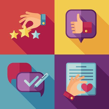 Customer service concept background in flat style. Customer icon, success quality service, feedback client service, support service customer. Vector illustration Ilustração