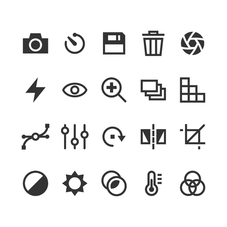 Photography vector icons. Photography icon, option photography icon, photography function icon, photography effect icon illustration