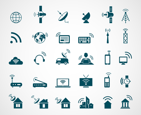 wireless connection: Antenna and wireless technology icons. Antenna wireless, technology connection wireless,  icon set wireless communication, satellite internet, vector illustration Illustration