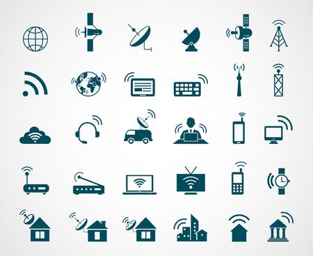 wireless communication: Antenna and wireless technology icons. Antenna wireless, technology connection wireless,  icon set wireless communication, satellite internet, vector illustration Illustration