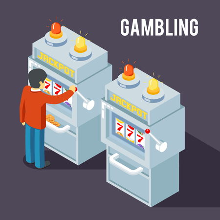 gambler: Casino slot machine. Using slot fruit jackpot machine vector isometric 3d illustration. Gambler play slot machine, game slot machine, jackpot slot machine casino